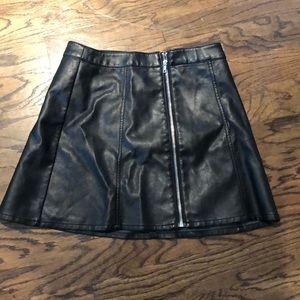 Never worn black leather skirt